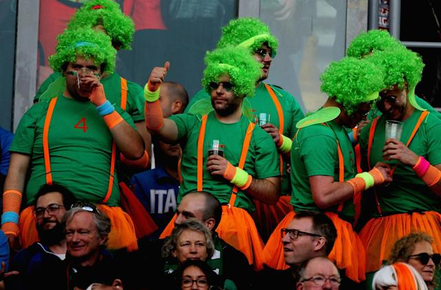<p>Ireland fans look on ahead of the Six Nations clash with Italy </p>