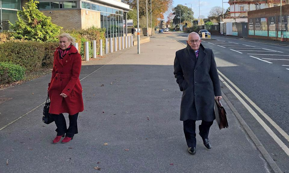 Patrick McLarry, 71, leaving Salisbury Crown Court after he pleaded guilty to defrauding the pension scheme of the Yateley Industries for the Disabled, the charity he ran, of ??250,000. His wife, Sandra McLarry (left), 59, was charged with four counts of money-laundering but the prosecutor said they would not proceed on these charges and offered no evidence.