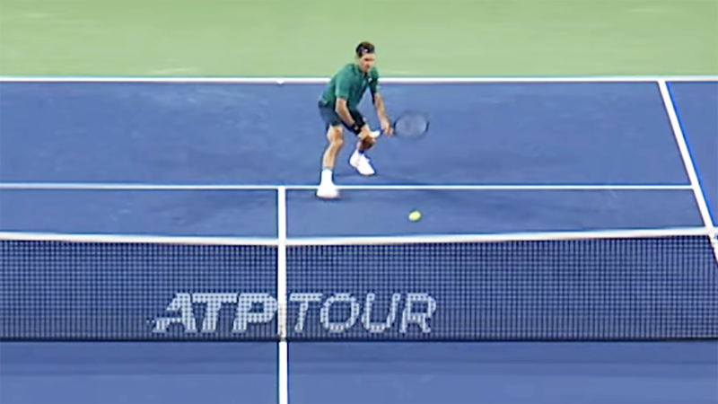 Roger Federer played a rare two-handed drop-volley. Image: Tennis TV