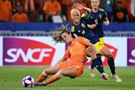 Netherlands' midfielder Jill Roord (L) vies with Sweden's midfielder Caroline Seger during the France 2019 Women's World Cup semi-final football match between the Netherlands and Sweden, on July 3, 2019, at the Lyon Stadium in Decines-Charpieu, central-eastern France. (Photo by Franck Fife/AFP/Getty Images)
