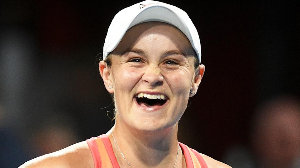 Ash Barty (pictured) smiles after her victory in Adelaide.