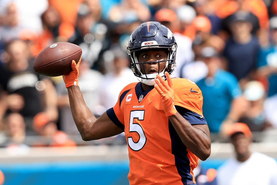 JACKSONVILLE, FLORIDA - SEPTEMBER 19: Teddy Bridgewater #5 of the Denver Broncos attempts a pass during the game against the Jacksonville Jaguars at TIAA Bank Field on September 19, 2021 in Jacksonville, Florida. (Photo by Sam Greenwood/Getty Images)