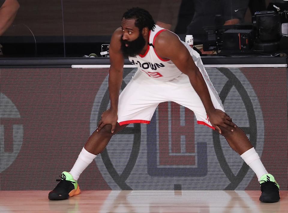 James Harden isn't changing his mind about wanting out of Houston. (Photo by Mike Ehrmann/Getty Images)
