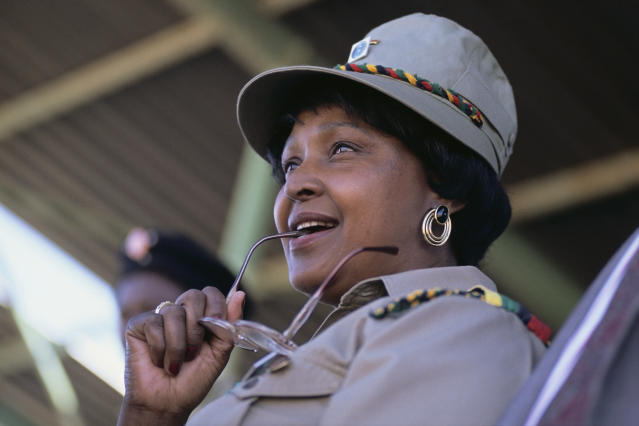 <p>Winnie Mandela at an ANC rally in Soweto circa 1986. (Photo: Gideon Mendel/Corbis via Getty Images) </p>
