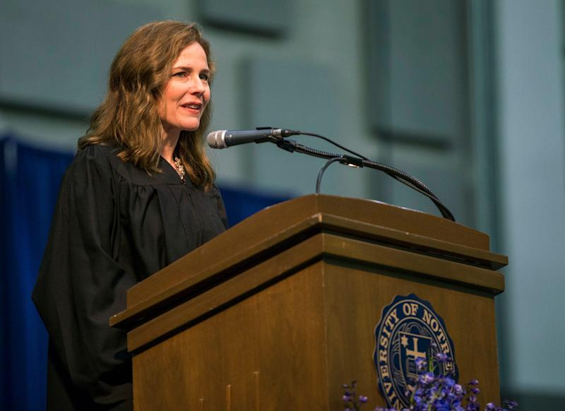 In this May 19, 2018 file photo, Amy Coney Barrett, United States Court of Appeals for the Seventh Circuit judge, speaks during the University of Notre Dame's Law School commencement ceremony at the University of Notre Dame in South Bend, Ind.
