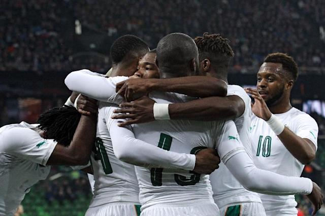 Ivory Coast's players celebrate a goal during their international friendly football match against Russia in Krasnodar on March 24, 2017 (AFP Photo/STR)