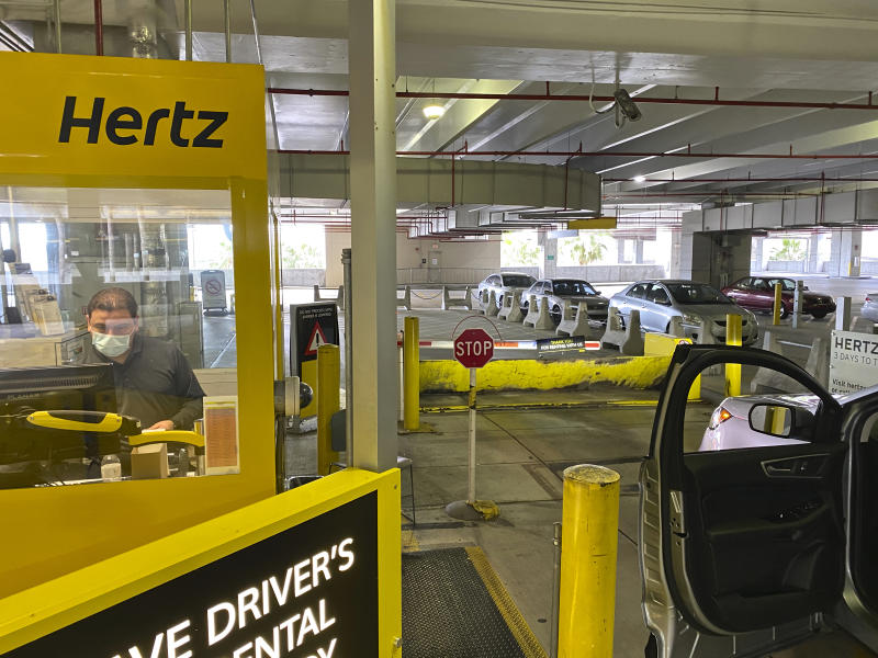 Car exiting the empty car rental area at Hertz«s Car Rental Parking area at Miami International Airport (Photo by: Kike Calvo/Universal Images Group via Getty Images)