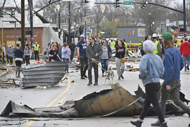 People view damage along Woodland Street after a tornado touched down in Nashville, Tennessee, U.S. March 3, 2020. (REUTERS/Harrison McClary)