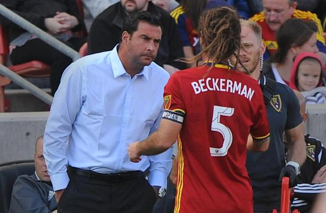 Real Salt Lake head coach Jeff Cassar (L) talks to one of his players during a MLS match in Sandy, Utah, in 2016 (AFP Photo/Gene Sweeney Jr.)