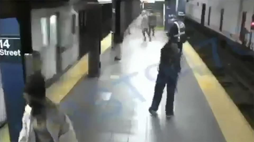 A man was arrested in New York City after he pushed a woman onto the subway tracks before an incoming train came into the station. The woman fell between the train tracks and narrowly survived the incident with no major injuries. (NBC News)