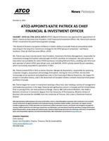 ATCO APPOINTS KATIE PATRICK AS CFO & INVESTMENT AGENT (CNW Group / ATCO Ltée)