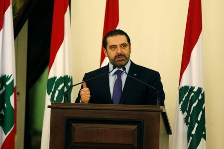 Lebanese Prime Minister Saad al-Hariri talks during a conference in Beirut
