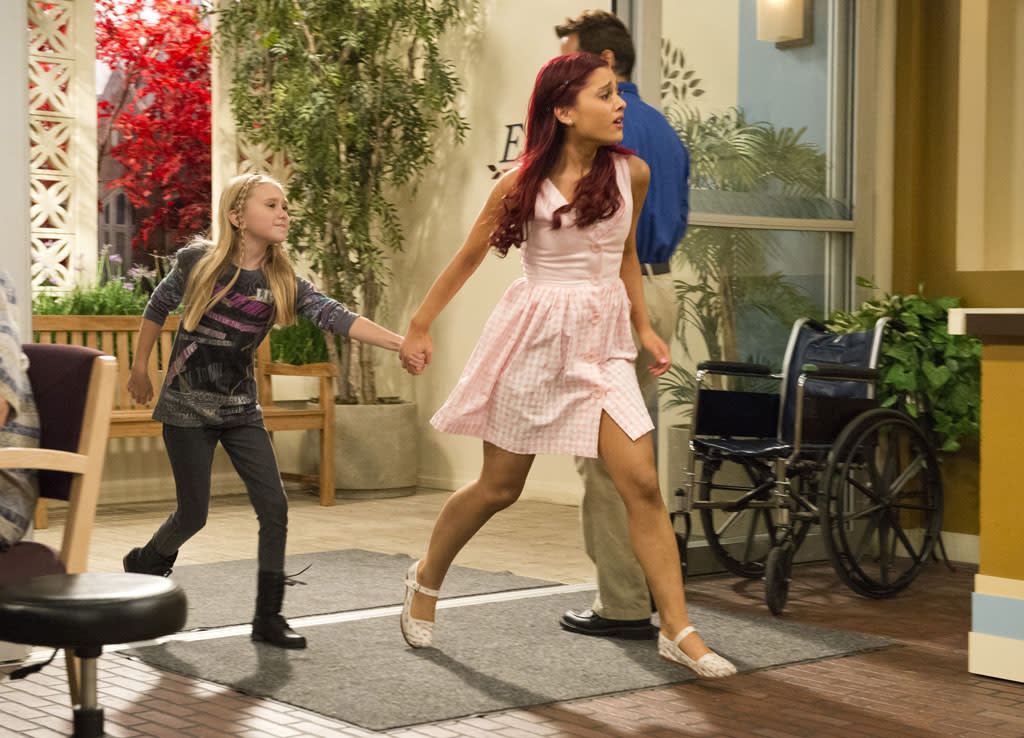 "Cat Valentine (Ariana Grande) in the ""Sam & Cat"" series premiere, ""#Pilot."""
