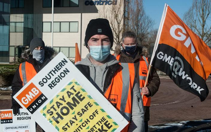 Striking British Gas engineers picket the offices of CENTRICA - Getty