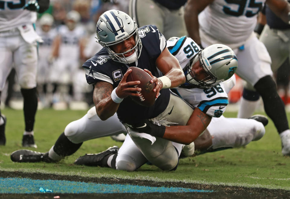 Dak Prescott and the Cowboys didn't find the end zone too often, but did here on this 2-point conversion in the second half. (AP)