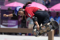 Sakura Yosozumi of Japan competes in the women's park skateboarding finals at the 2020 Summer Olympics, Wednesday, Aug. 4, 2021, in Tokyo, Japan. (AP Photo/Ben Curtis)