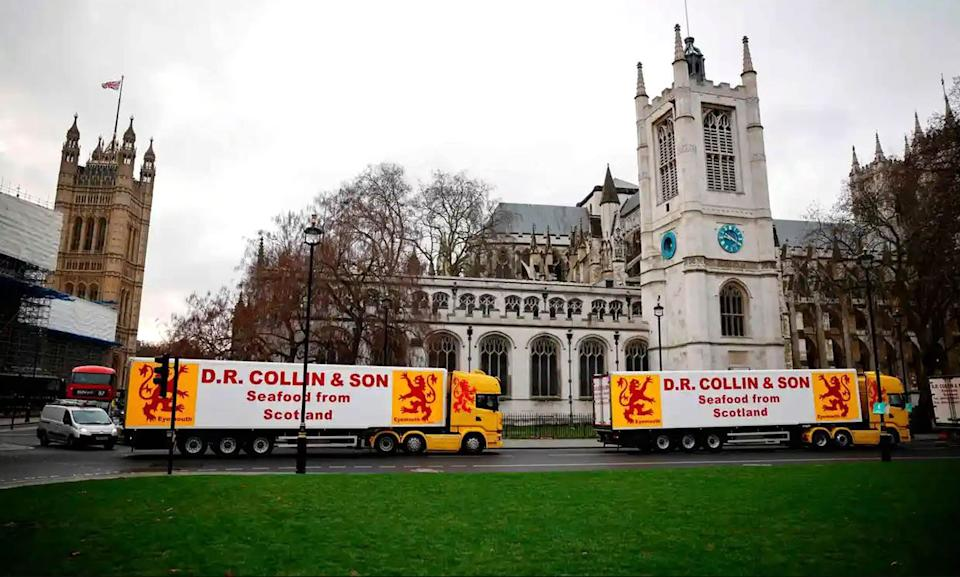 <p>A protest over the Brexit fishing deal in London led to 14 people being fined</p> (PA)