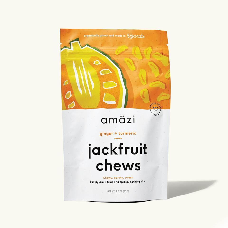 """<p>""""Jackfruit is a great meat alternative, and Amazi sources all its jackfruit from a women-owned cooperative in Uganda.""""</p> <p><em>Buy it: <a rel=""""nofollow noopener"""" href=""""https://getintothebubble.com/products/ginger-turmeric-jackfruit-chews"""" target=""""_blank"""" data-ylk=""""slk:Amazi Ginger Turmeric Jackfruit Chews, $17 for three"""" class=""""link rapid-noclick-resp"""">Amazi Ginger Turmeric Jackfruit Chews, $17 for three</a>.</em></p>"""