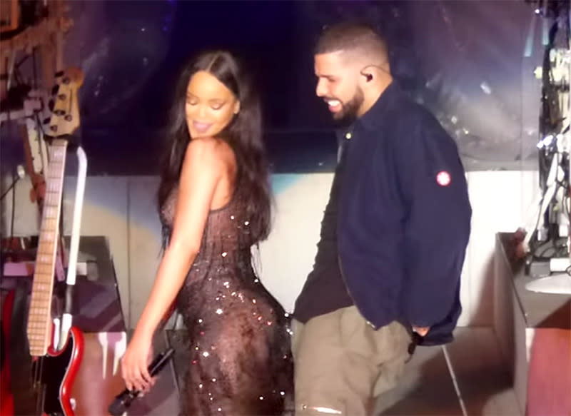 "<p>Drake popped up in Miami for Rihanna's 2016 ""Anti World Tour,"" where they demonstrated that they clearly had chemistry during a performance of ""Work."" This marked the first of many surprise appearances he would make for his main squeeze along the way. (Photo: Youtube) </p>"