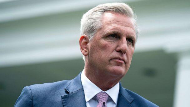 PHOTO: House Minority Leader Kevin McCarthy speaks to reporters outside the White House after a meeting with President Joe Biden, May 12, 2021. (Evan Vucci/AP)