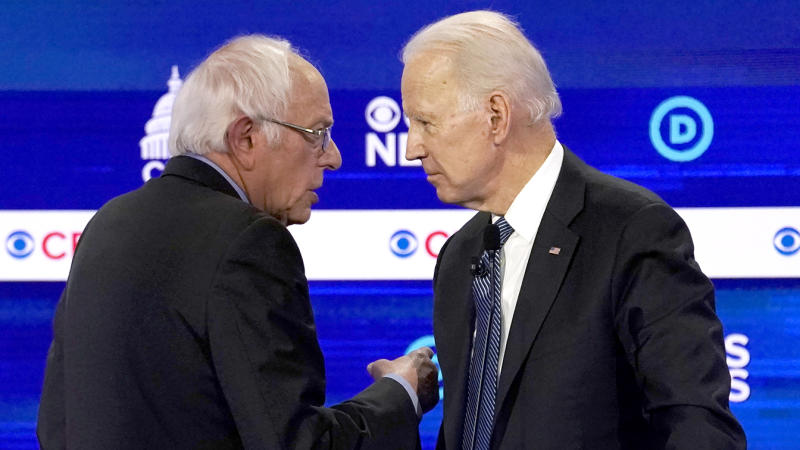 Bernie Sanders and Joe Biden. (Jonathan Ernst/Reuters)