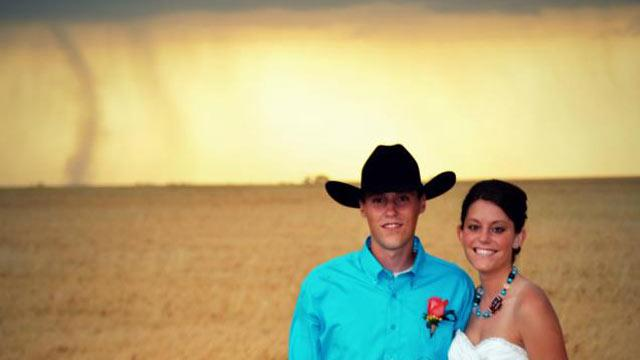 Tornado Backdrop in Kansas Wedding Photos