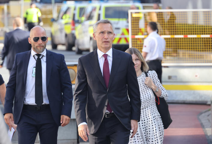 NATO leader Jens Stoltenberg, centre, arrives to attend a memorial service marking the 10-year anniversary of the terrorist attack by Anders Breivik, in the Government Quarter, Oslo, Thursday, July 22, 2021. Commemorations will be held marking the 10-year anniversary of Norway's worst ever peacetime slaughter. On July 22, 2011, rightwing terrorist Anders Breivik set of a bomb in the capital, Oslo, killing eight people, before heading to tiny Utoya island where he stalked and shot dead 69 mostly teen members of the Labor Party youth wing. (Geir Olsen/NTB scanpix via AP)