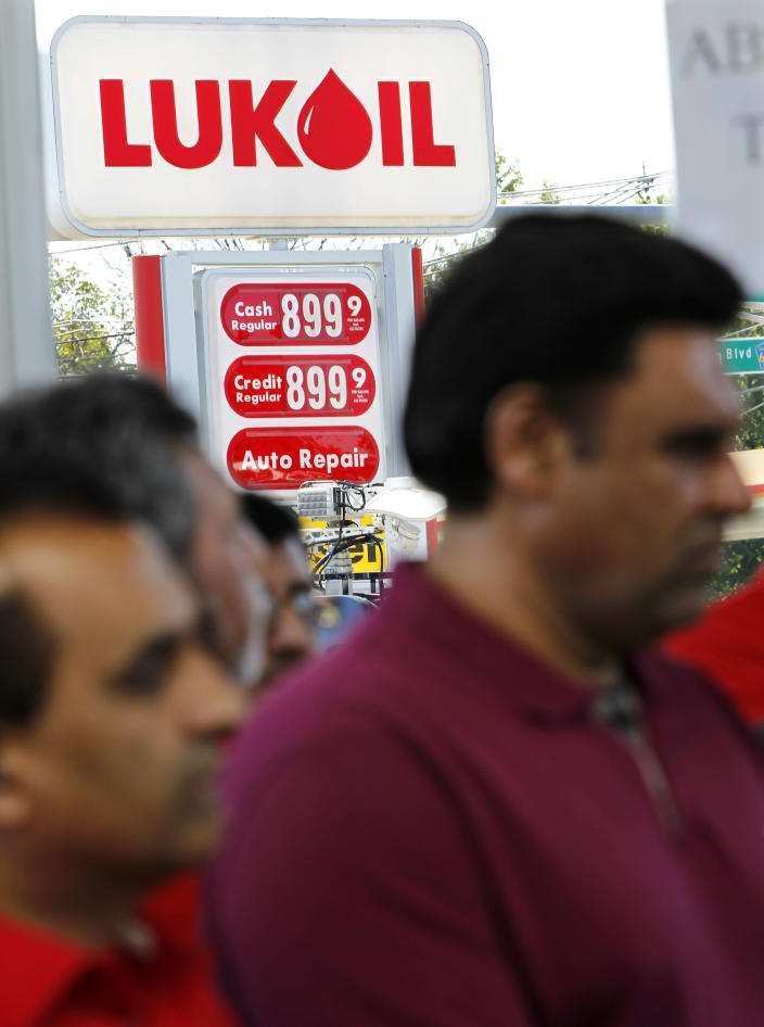 A price sign is seen at a Lukoil service station Wednesday, Sept. 12, 2012, in South Plainfield, N.J., as a large gathering of Lukoil dealers and workers protested what they say are unfair pricing practices by Lukoil North America. More than 50 Lukoil gas stations in New Jersey and Pennsylvania were jacking up prices to more than $8 a gallon Wednesday to protest what they say are unfair pricing practices by Lukoil North America that they say leave them at a competitive disadvantage. (AP Photo/Mel Evans)