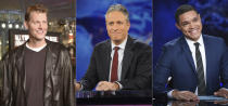 """In this combination photo, Craig Kilborn, former host of """"The Daily Show,"""" appears at the premiere of """"Old School"""" in Los Angeles on Feb. 13, 2003, from left, Jon Stewart appears during a taping of """"The Daily Show with Jon Stewart"""" in New York on Nov. 30, 2011 and Trevor Noah appears during a taping of """"The Daily Show with Trevor Noah"""" in New York on Sept. 29, 2015. Comedy Central's """"The Daily Show,"""" launched 25 years ago this month, dedicated to skewering journalism and warning viewers about how they take in their news. (AP Photo)"""