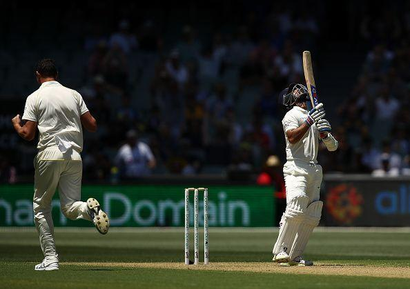 Rahane again poked at a delivery outside off to get dismissed