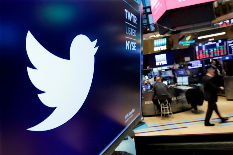 FILE - In this Feb. 8, 2018, file photo, the logo for Twitter is displayed above a trading post on the floor of the New York Stock Exchange. Twitter reports financial results Tuesday, April 23, 2019. (AP Photo/Richard Drew, File)