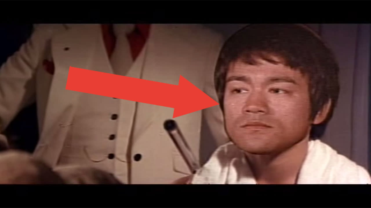 <p>'Game Of Death' was part-way through production when star Bruce Lee tragically died, so the filmmakers used all kinds of tricks to make you forget the film's star wasn't actually present. The most galling was a static cardboard cutout of Lee's face stuck to a mirror, while a lookalike sat perfectly still in front of it. Later, the filmmakers would use footage of Lee's actual funeral in scenes intended to be for his character. </p>