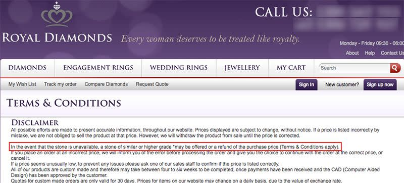 The disclaimer set out by Royal Diamonds. Photo: Royaldiamonds.com