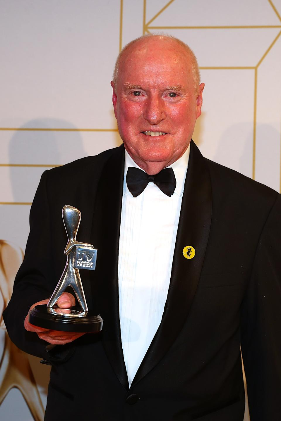 Ray Meagher poses with the award for most popular actor at the 60th Annual Logie Awards at The Star Gold Coast on July 1, 2018 in Gold Coast, Australia