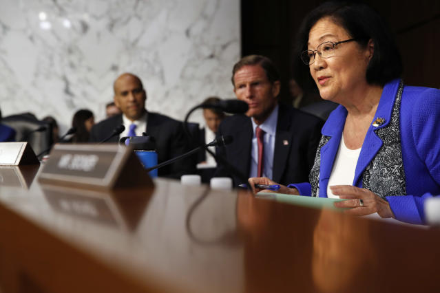 Sen. Mazie Hirono, D-Hawaii, right, questions President Trump's Supreme Court nominee to replace retired Justice Anthony KennedyBrett Kavanaugh, as he testifies before the Senate Judiciary Committee. (Photo: Jacquelyn Martin/AP)