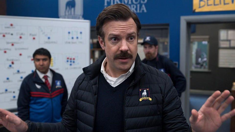 """Jason Sudeikis is an American football coach thrust into the world of British soccer in comedy """"Ted Lasso."""""""