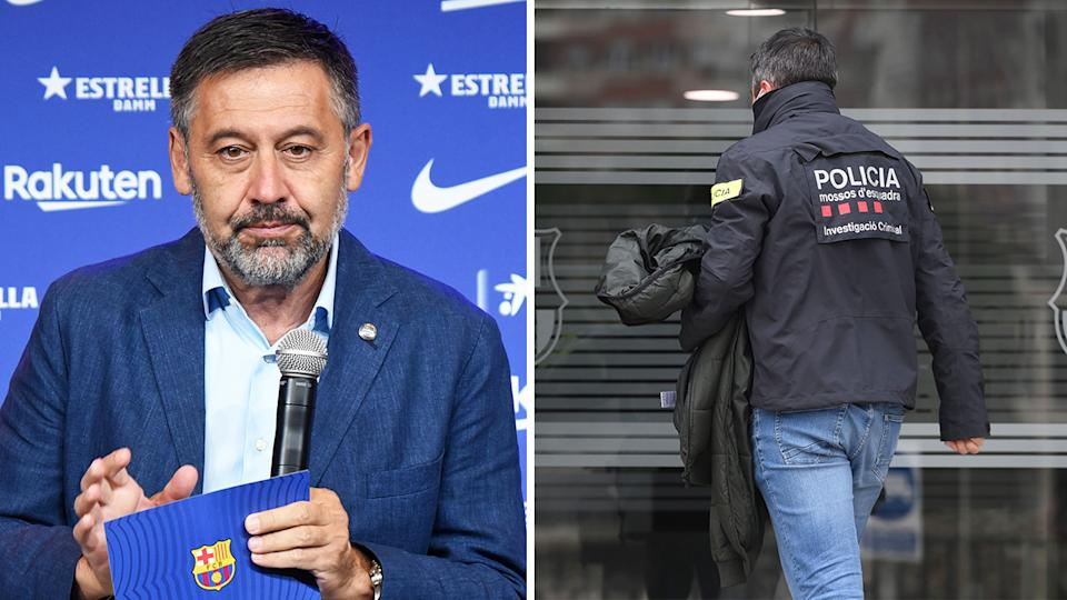 Josep Maria Bartomeu (pictured left) during a press conference and a police officer (pictured right) walking into the Barcelona headquarters.