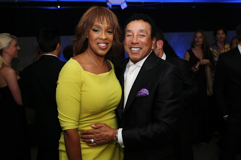 """NEW YORK, NY - APRIL 14:  Gayle King (L) and Smokey Robinson attend the after party for the Broadway opening night for """"Motown: The Musical"""" at Roseland Ballroom on April 14, 2013 in New York City.  (Photo by Neilson Barnard/Getty Images)"""