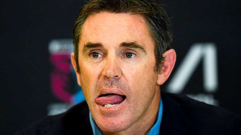 Pictured here, NSW coach Brad Fittler speaks to media after State of Origin III.