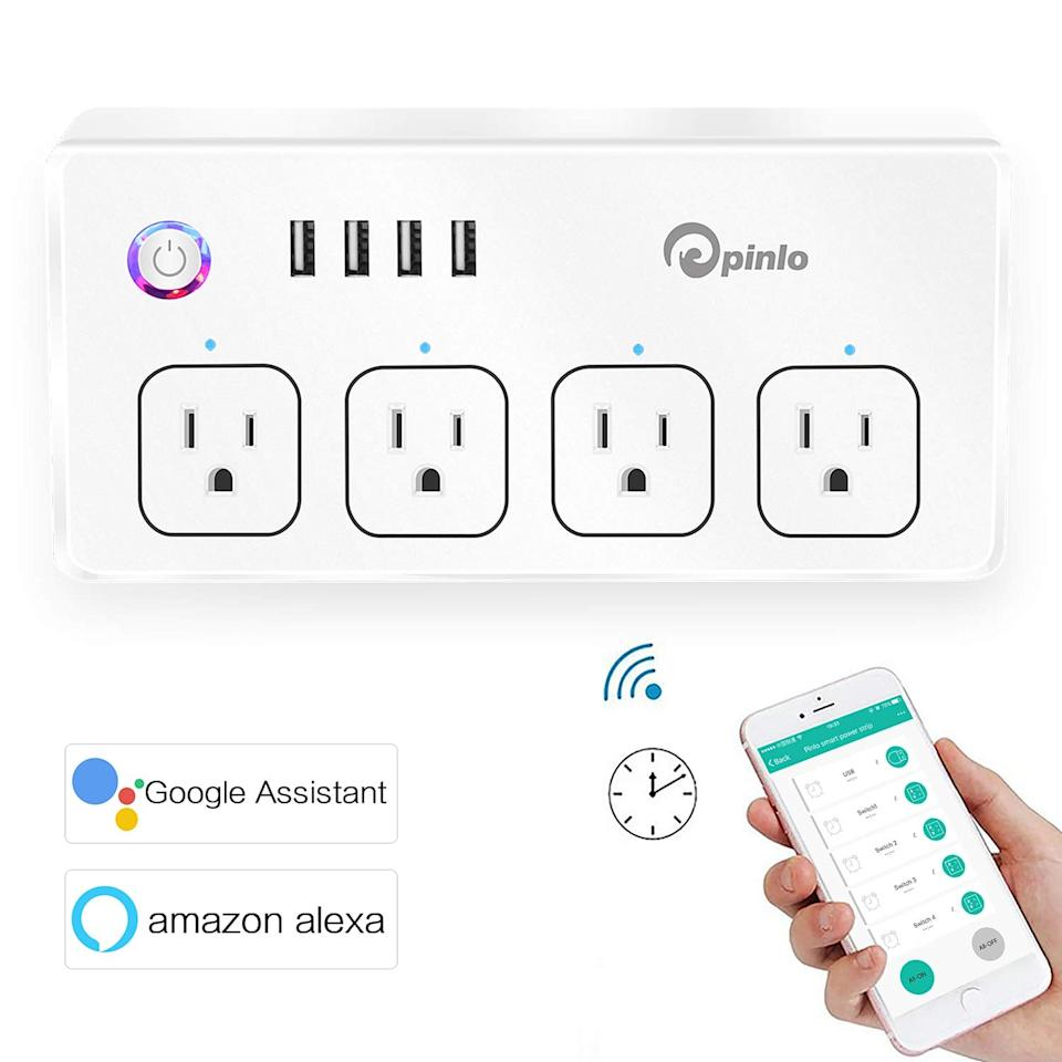 """<p>Control all the plugs in your home, even when you're not there, with this <a href=""""https://www.popsugar.com/buy/Smart-Power-Strip-Wifi-Surge-Protector-402778?p_name=Smart%20Power%20Strip%2C%20Wifi%20Surge%20Protector&retailer=amazon.com&pid=402778&price=27&evar1=savvy%3Aus&evar9=46018772&evar98=https%3A%2F%2Fwww.popsugar.com%2Fsmart-living%2Fphoto-gallery%2F46018772%2Fimage%2F46018993%2FSmart-Power-Strip-Wifi-Surge-Protector&list1=shopping%2Cgifts%2Camazon%2Cgadgets%2Cgift%20guide%2Ctech%20gifts&prop13=mobile&pdata=1"""" rel=""""nofollow"""" data-shoppable-link=""""1"""" target=""""_blank"""" class=""""ga-track"""" data-ga-category=""""Related"""" data-ga-label=""""https://www.amazon.com/Protector-Appliances-Individual-Schedule-Required/dp/B076VRH9WP/ref=sr_1_12?ie=UTF8&amp;qid=1546457021&amp;sr=8-12&amp;keywords=best+home+tech+gadgets"""" data-ga-action=""""In-Line Links"""">Smart Power Strip, Wifi Surge Protector</a> ($27). You can sync lights, devices, and more to a timer or manually turn them on or off from your smartphone.</p>"""