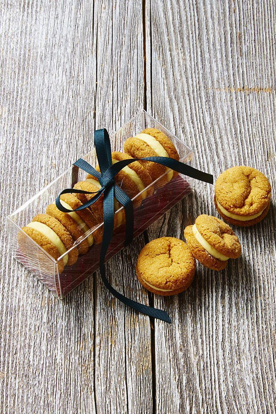 """<p>Bite into the new season with these spicy ginger and orange buttercream delights.</p><p><em><a href=""""https://www.goodhousekeeping.com/food-recipes/dessert/a46921/ginger-and-cream-sandwich-cookies-recipe/"""" rel=""""nofollow noopener"""" target=""""_blank"""" data-ylk=""""slk:Get the recipe for Ginger and Cream Sandwich Cookies »"""" class=""""link rapid-noclick-resp"""">Get the recipe for Ginger and Cream Sandwich Cookies »</a></em></p>"""