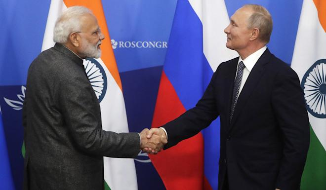 Indian Prime Minister Narendra Modi meets Russian President Vladimir Putin at the Eastern Economic Forum in Vladivostok on Wednesday. Photo: AP