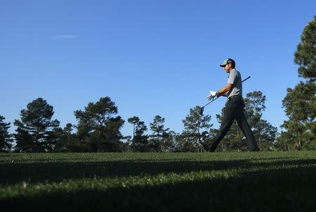 Sergio Garcia of Spain walks to the third tee during practice for the 2018 Masters golf tournament in Augusta