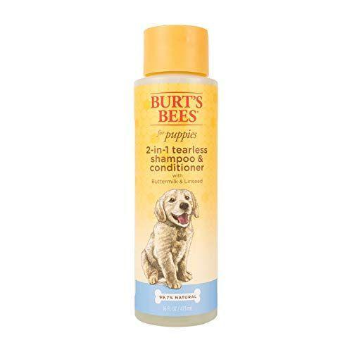 "<p><strong>Burt's Bees for Pets</strong></p><p>amazon.com</p><p><strong>$6.99</strong></p><p><a href=""https://www.amazon.com/dp/B00CVTRO48?tag=syn-yahoo-20&ascsubtag=%5Bartid%7C10055.g.33995402%5Bsrc%7Cyahoo-us"" rel=""nofollow noopener"" target=""_blank"" data-ylk=""slk:Shop Now"" class=""link rapid-noclick-resp"">Shop Now</a></p><p>Working as a shampoo <em>and</em> a conditioner, the ultra-gentle, pH-balanced buttermilk and linseed oil formula will cleanse your pups skin without irritation. </p>"