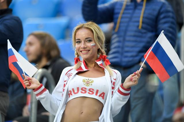 Adult film actress has shot to fame as Russia's hottest World Cup fan
