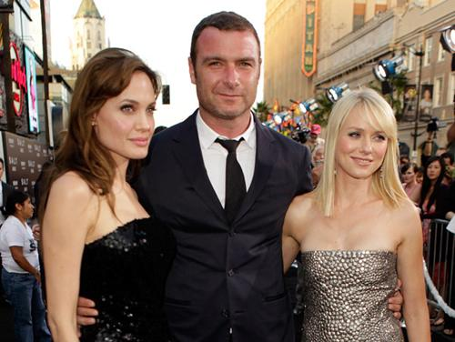 <p>Co-stars Angelina Jolie and Liev Schreiber attend the premiere with Liev's partner Naomi Watts</p>