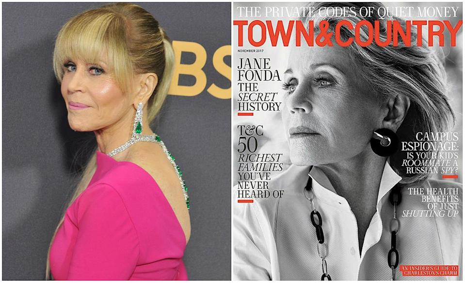 Jane Fonda at the 2017 Emmy Awards (photo left) and unretouched on Town & Country (photo right).<em> (Photos: Getty/Twitter) </em>
