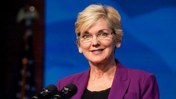 PHOTO: Nominee for Secretary of Energy, Jennifer Granholm, speaks at the Queen theater on Dec. 19, 2020, in Wilmington, Del. (Joshua Roberts/Getty Images)