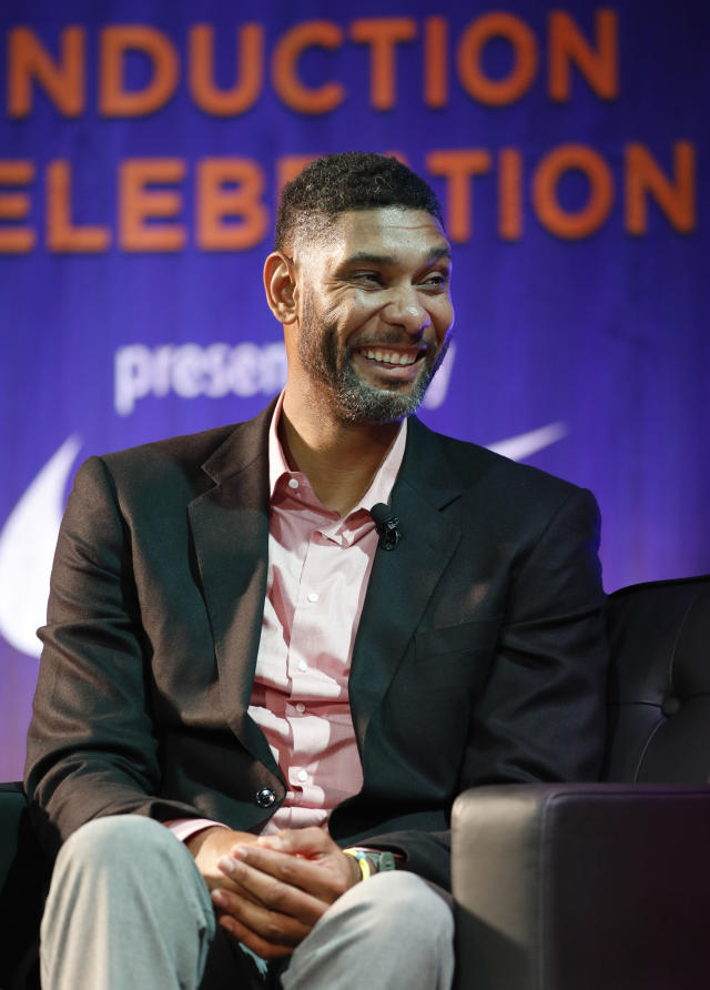Former Wake Forest great, Tim Duncan, talks about his career during a National Collegiate Basketball Hall of Fame induction event, Sunday, Nov. 19, 2017, in Kansas City, Mo. (AP Photo/Colin E. Braley)