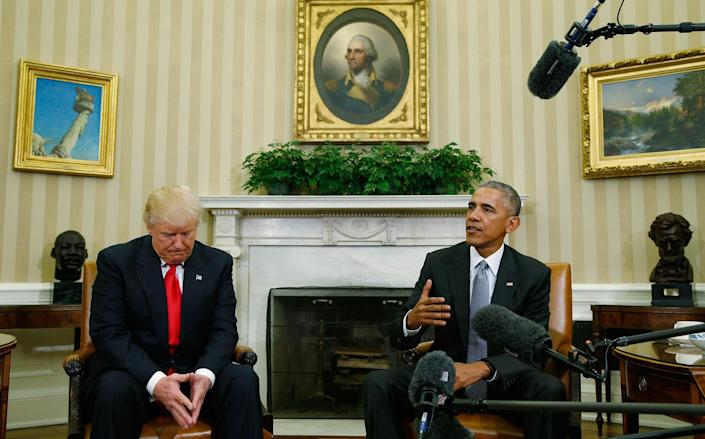 <p>President Obama meets with President-elect Donald Trump in the Oval Office of the White House on Nov. 10, 2016. (Kevin Lamarque/Reuters) </p>